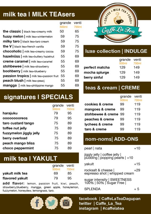 Caffe La Tea, Cabanatuan, Mabini, Robinsons, NE Pacific, Dagupan, Gapan, menu, price